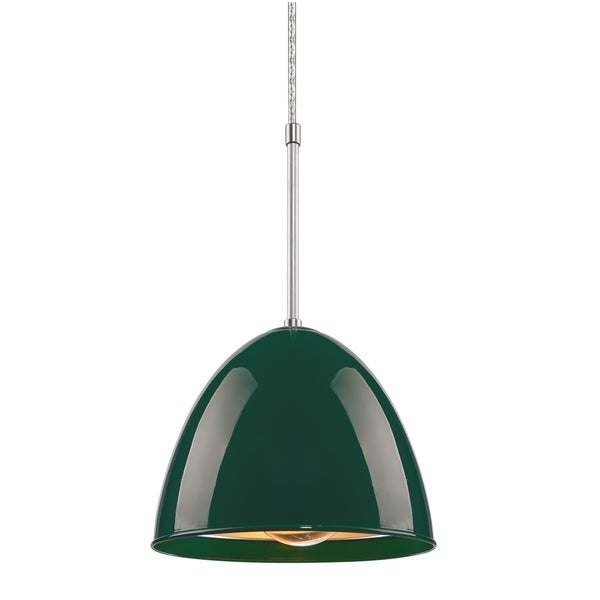 Bruck Lighting Classic Matte Chrome Pendant with British Racing Green Aluminum Shade