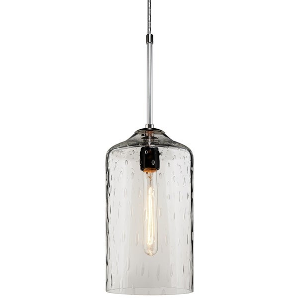 Bruck Lighting Captain Chrome Metal and Clear Glass Pendant