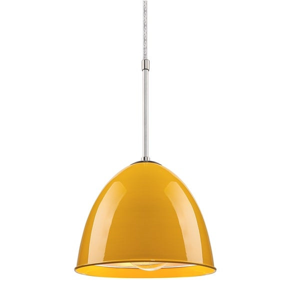 Bruck Lighting Classic Matte Chrome Pendant with Canary Yellow Aluminum Shade