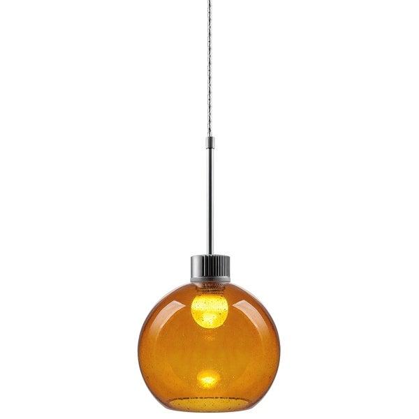 Bruck Lighting Bobo 3 LED Matte Chrome Pendant with Amber Hand Made Glass Shade