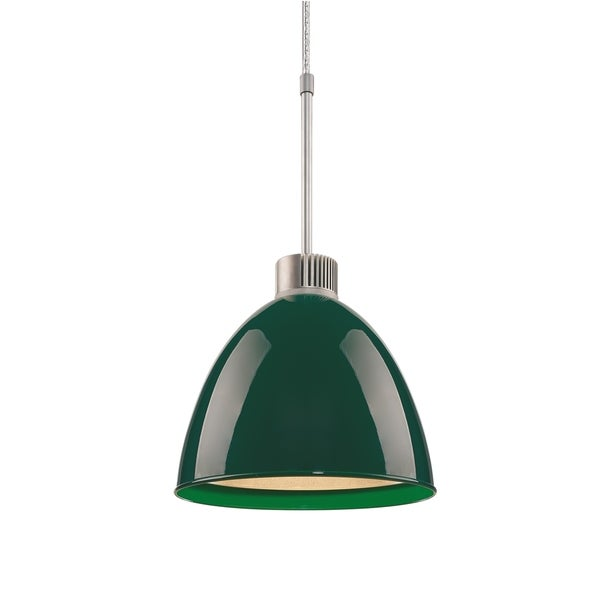 Bruck Lighting Classic LED Matte Chrome Pendant with British Racing Green Aluminum Shade