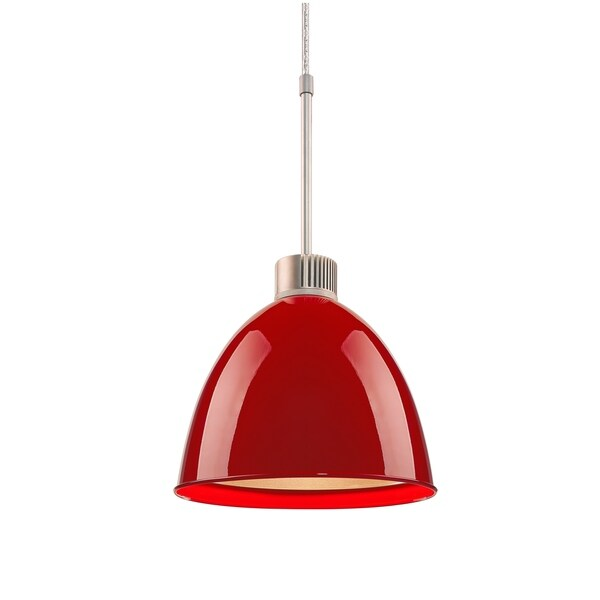 Bruck Lighting Classic LED Matte Chrome Pendant with Gypsy Red Aluminum Shade