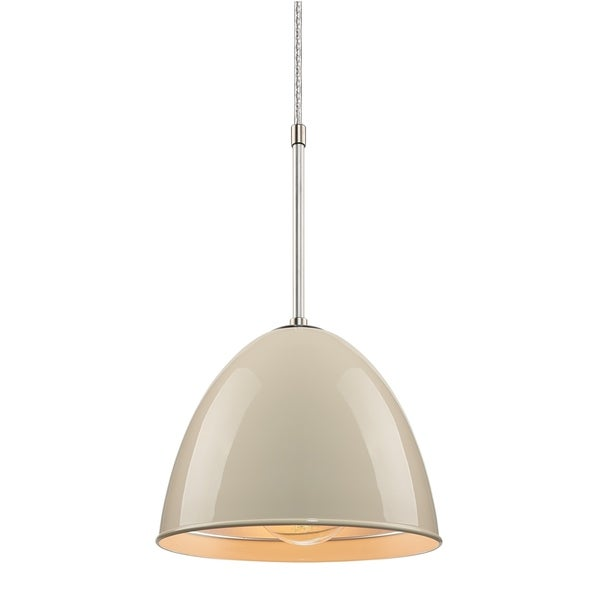 Bruck Lighting Classic Matte Chrome Pendant with Ivory Aluminum Shade