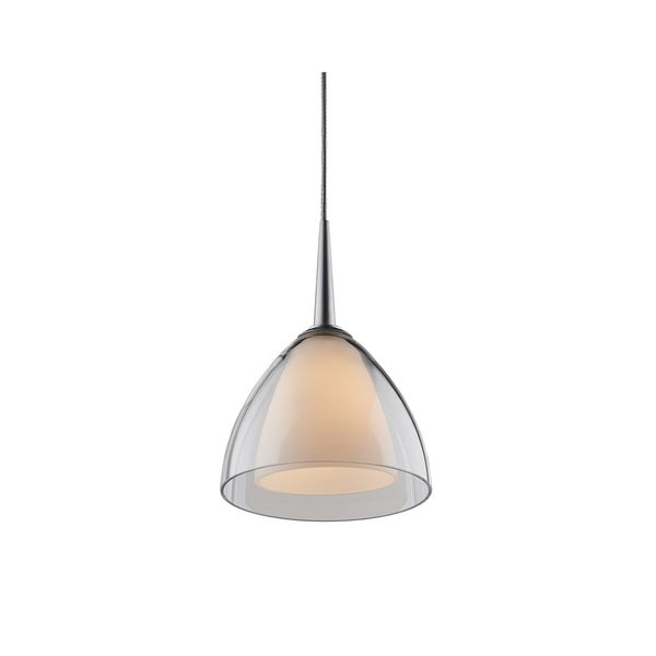 Bruck Lighting Rainbow 2 Low Voltage Halogen Matte Chrome Pendant with Clear Artisan Glass Shade