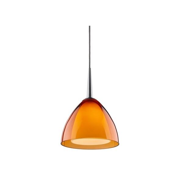 Bruck Lighting Rainbow 2 Low Voltage Halogen Matte Chrome Pendant with Orange Artisan Glass Shade