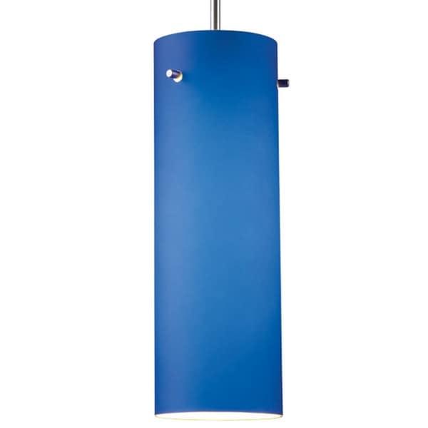 Bruck Lighting Titan 1 Low Voltage Halogen Matte Chrome Pendant with Blue Artisan Glass Shade