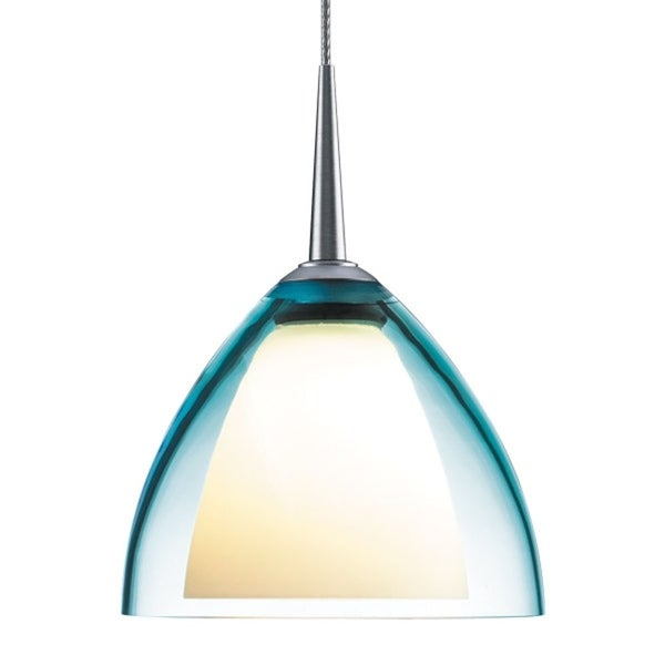 Bruck Lighting Rainbow 2 Low Voltage Halogen Matte Chrome Pendant with Turquoise Artisan Glass Shade