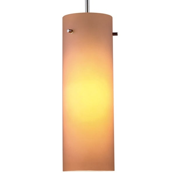 Bruck Lighting Titan 1 Low Voltage Halogen Matte Chrome Pendant with Amber Artisan Glass Shade