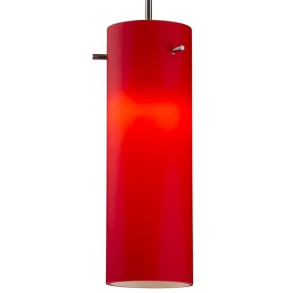 Bruck Lighting Titan 1 CFL Matte Chrome Pendant with Red Artisan Glass Shade