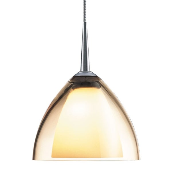 Bruck Lighting Rainbow 2 Low Voltage Halogen Matte Chrome Pendant with Smoky Artisan Glass Shade