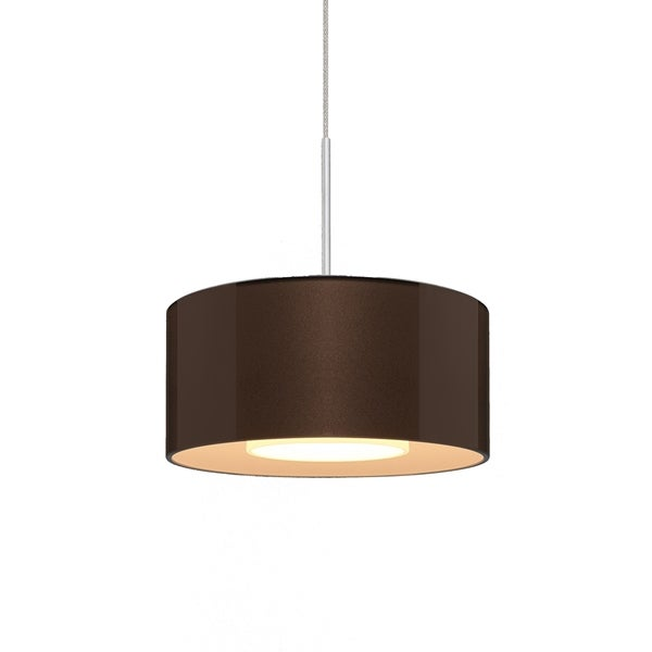Bruck Lighting Cantara Low Voltage Halogen Matte Chrome Pendant with Bronze Artisan Glass and Crystal Shade