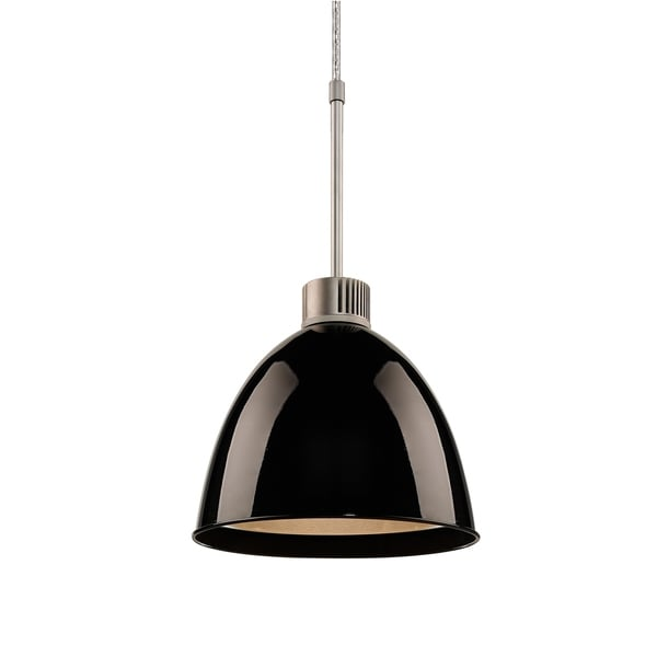 Bruck Lighting Classic LED Matte Chrome Pendant with Black Aluminum Shade