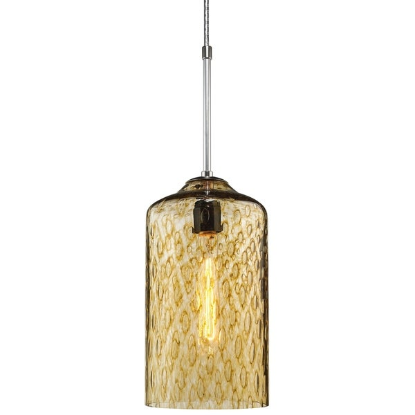 Bruck Lighting Captain Matte Chrome Pendant with Amber Artisan Glass Shade