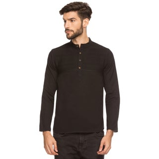 Handmade Shatranj Men's Indian Band Collar Henley Shirt Short Tunic Kurta With Pin-tucks (India)