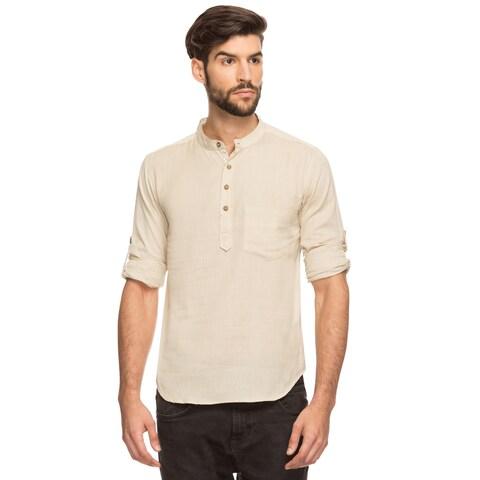 Handmade Shatranj Men's Indian Mandarin Collar Henley Shirt Short Tunic Kurta (India)