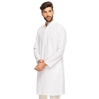 Handmade Shatranj Men's Indian Band Collar Long Tunic Kurta With All-over Embroidery (India)