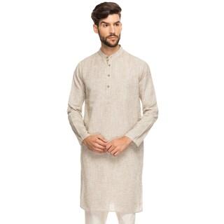 Shatranj Men's Indian Band Collar Shirt Long Tunic Kurta With Textured Space Dye (India)