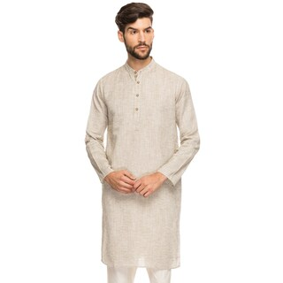 Shatranj Men's Indian Band Collar Shirt Long Tunic Kurta With Textured Space Dye (India)