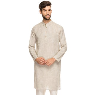 Handmade Shatranj Men's Indian Band Collar Shirt Long Tunic Kurta With Textured Space Dye (India)