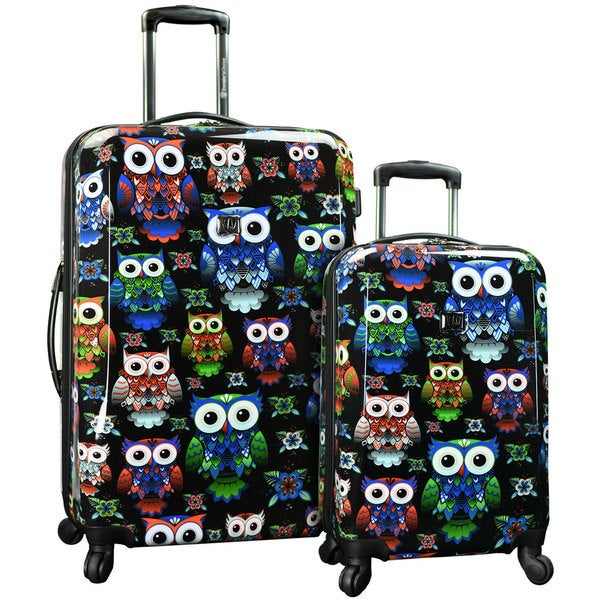 Traveler's Choice Colorful Owl 2-Piece Hardside Expandable Luggage Set