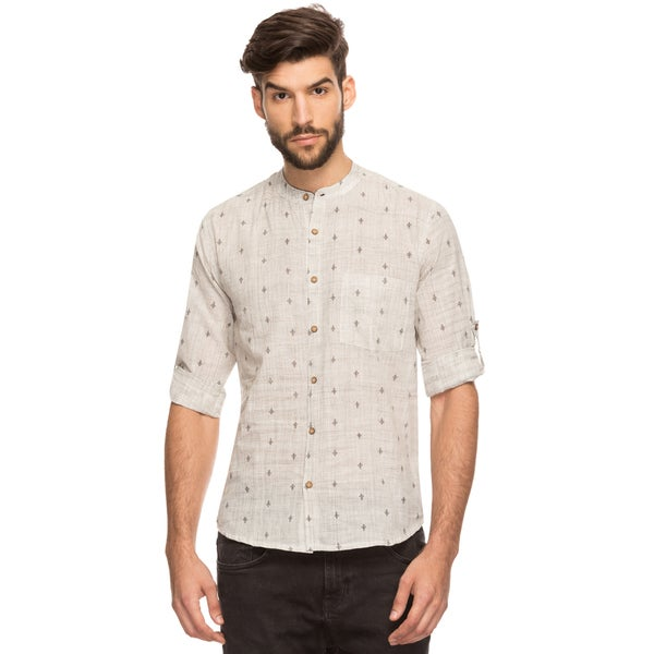 Handmade Shatranj Men's Indian Band Collar Shirt Tunic Textured Space Dye and Micro Print (India). Opens flyout.
