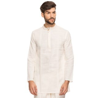 Shatranj Men's Indian Band Collar Mid-length Tunic Kurta Handcrafted Stitch (India)