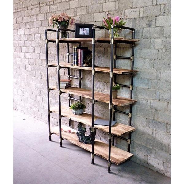 Manhattan Modern Industrial Etagere Bookcase