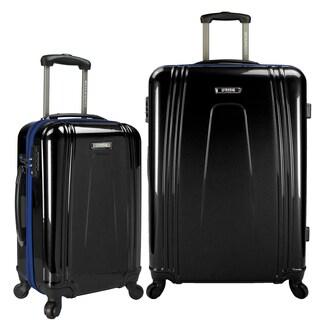 U.S. Traveler USB Port EZ-Charge 2-Piece Hardside Spinner Luggage Set (Option: Black)