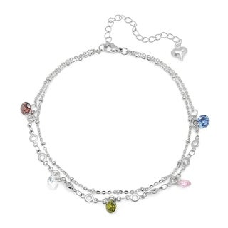 Piatella Ladies Multi-Colored Cubic Zirconia Charm Anklet in 2 Colors