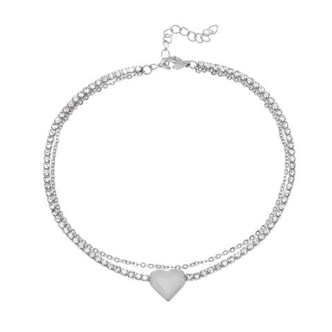 Piatella Ladies Stainless Steel Cubic Zirconia Chain Link Anklet with Heart Charm in 2 Colors