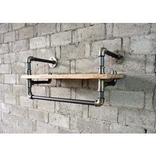 Ann Harbor Industrial Metal with Reclaimed Wood Finish Multi-purpose 27-inch Mounted Display Pipe Sh