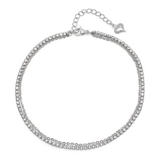 Piatella Ladies Stainless Steel Cubic Zirconia Chain Link Anklet in 2 Colors