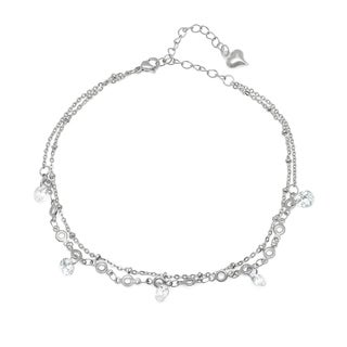 Piatella Ladies Stainless Steel Cubic Zirconia Charm Anklet in 2 Colors