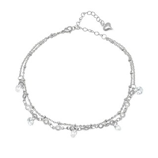 Piatella Ladies Stainless Steel Cubic Zirconia Charm Anklet in 2 Colors (2 options available)