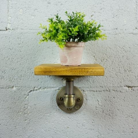 Furniture Pipeline Ames Farmhouse Industrial Decorative Wall Shelf