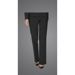 Twin Hill Womens Pant Grey Pinstripe Performance Flat Front