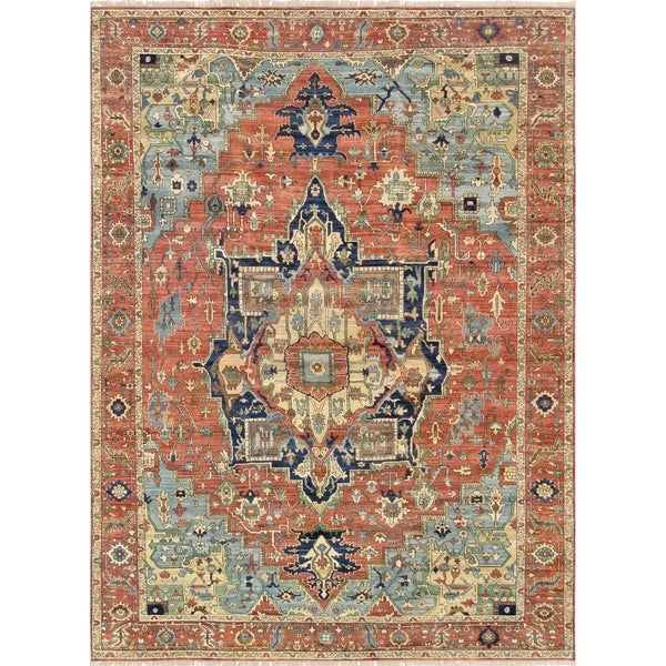 """Pasargad Serapi Rust Hand-Knotted Lamb's Wool Area Rug (8' 9"""" X 12' 3"""") - 9' x 12'"""