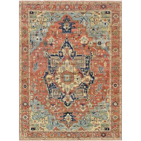 "Pasargad Serapi Collection Hand-Knotted Rust Wool Area Rug (7' 9"" X 9'11"")"