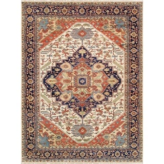 """Pasargad Serapi Collection Ivory/Navy Wool Area Rug (8'11"""" X 12' 0"""")"""