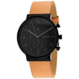 Skagen Men's Ancher Chronograph Black Dial Tan Leather Watch