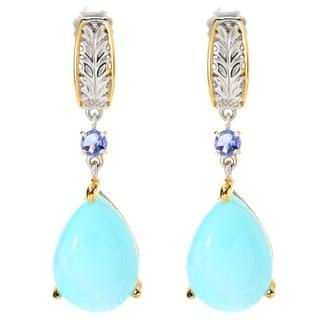 Michael Valitutti Palladium Silver Peruvian Opal & Tanzanite Drop Earrings