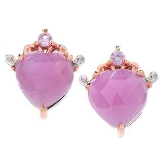 Michael Valitutti Palladium Silver Rose Cut Pink Sapphire Heart Shaped Stud Earrings