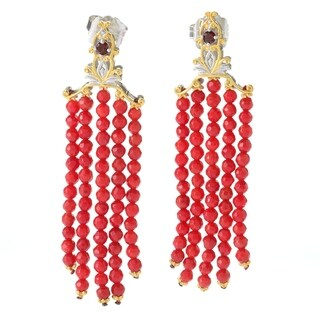 Michael Valitutti Palladium Silver Almandine Garnet & Red Coral Bead Tassel Drop Earrings
