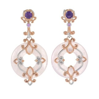 Michael Valitutti Palladium Silver Rose Quartz & Multi Gemstone Filigree Overlay Drop Earrings