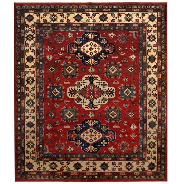 Handmade Herat Oriental Afghan Tribal Kazak Wool Rug - 8'2 x 9'6 (Afghanistan)