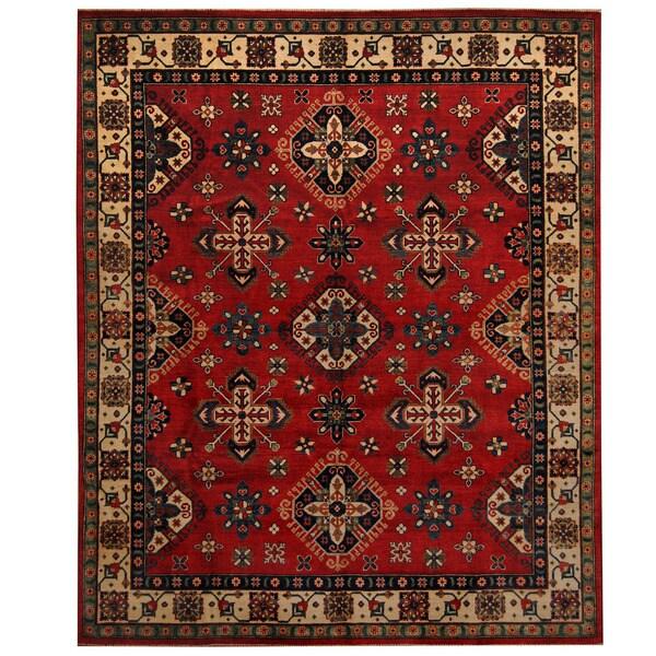 Herat Oriental Afghan Hand-knotted Tribal Kazak Wool Rug (8' x 9'9) - 8' x 9'9