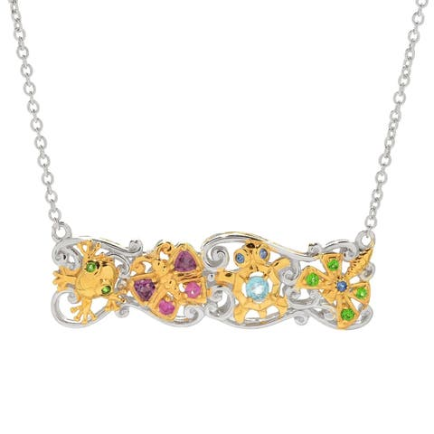 Michael Valitutti Palladium Silver Multi Gem Critter Bar Necklace