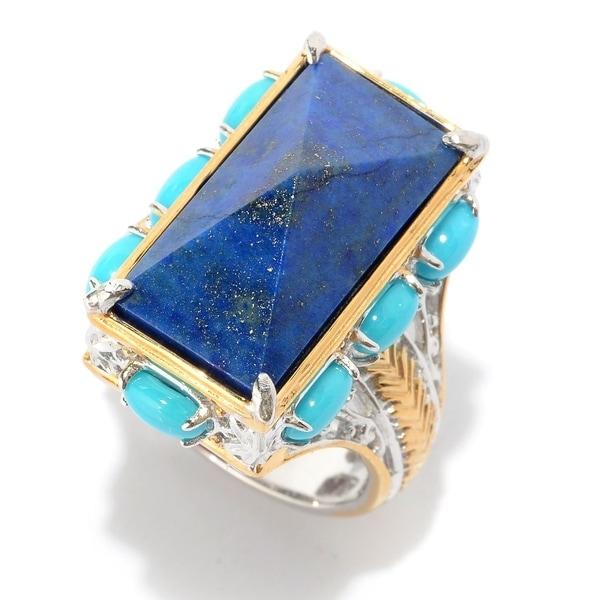 Michael Valitutti Palladium Silver Lapis & Turquoise Rectangular Pyramid Ring