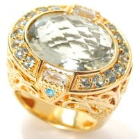 Dallas Prince Sterling Silver Oval Prasiolite & Multi Gemstone East-West Ring