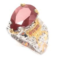 Michael Valitutti Palladium Silver Teardrop Hessonite Garnet & Orange Sapphire Wide Band Ring